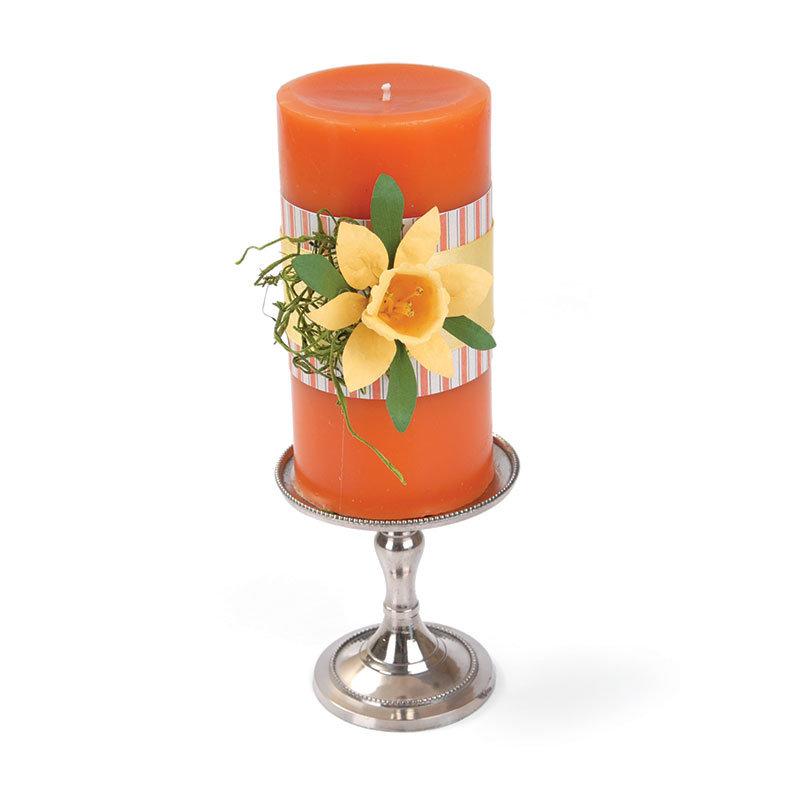 Daffodil Embellished Candle by Debi Adams