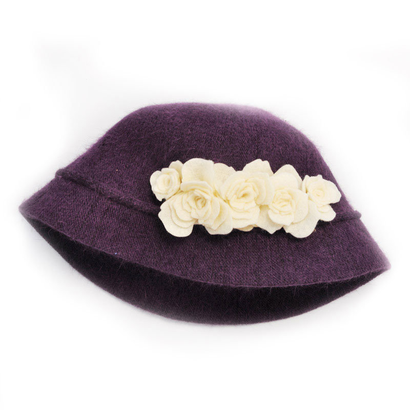 Wool Hat with Felt Flowers