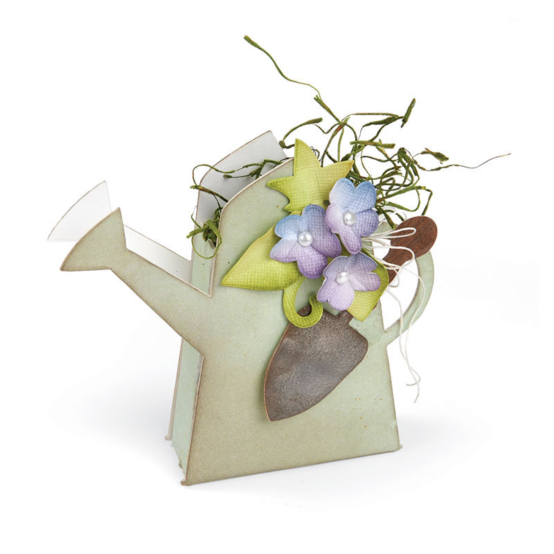 Watering Can with Flowers and Trowel by Beth Reames