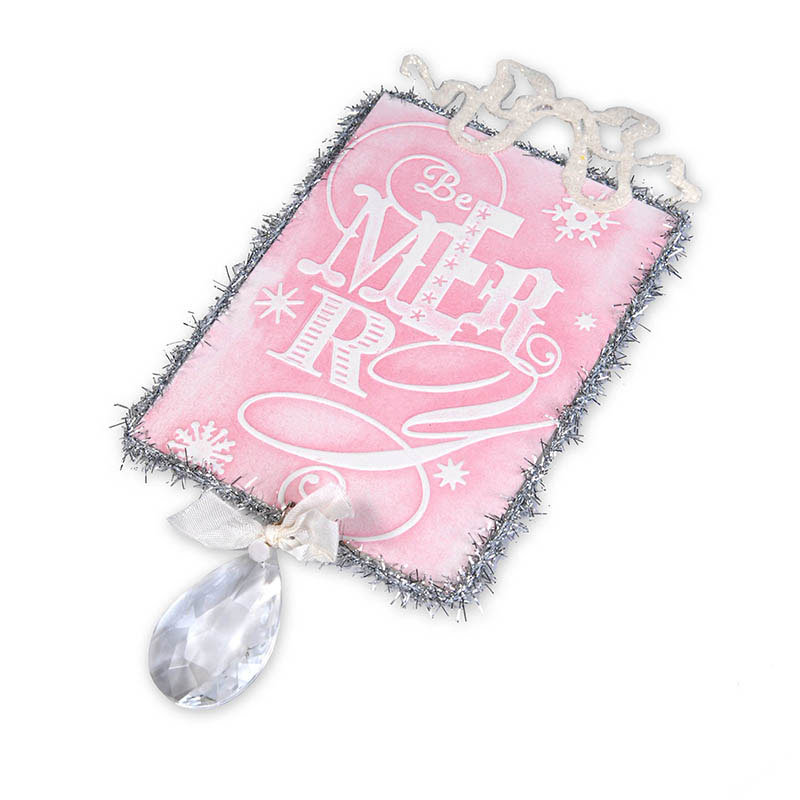 Embossed Be Merry Ornament  by Beth Reames