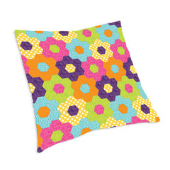 English Flower Garden Hexagon Pillow by Linda Nitzen