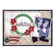 Holiday Wreath and Ornaments Scrapbook Page by Deena Ziegler
