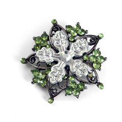 Embossed Snowflake with Jewels Brooch