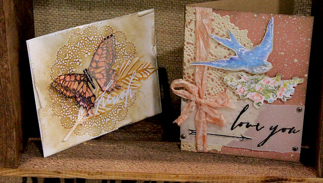 Butterfly Duo And Doily Texture Fade From Tim Holtz