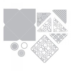 What is included in the New Sizzix Thinlits Plus Die Set 12pk - Envelope, Square