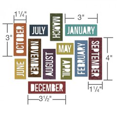 Sizzix Thinlits Die Set 12PK - Calendar Words: Block