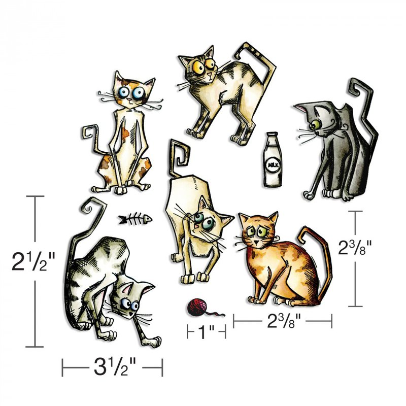 They're the coolest cats you'll ever meet! Sizzix Framelits Die Set 22PK - Crazy Cats
