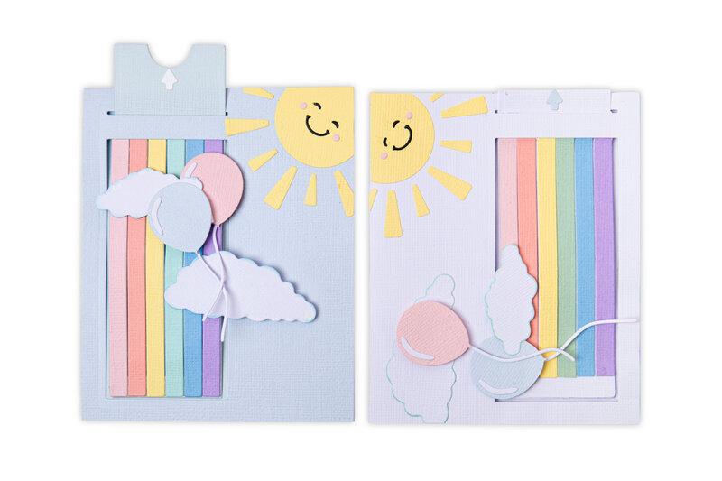 Rainbow and Sunshine Interactive Slider Card