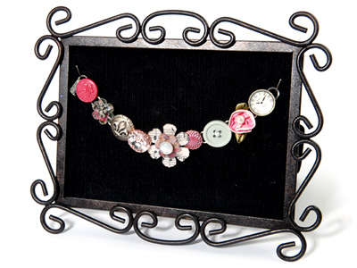 Buttons & Tattered Flowers Charm Bracelet by Beth Reames