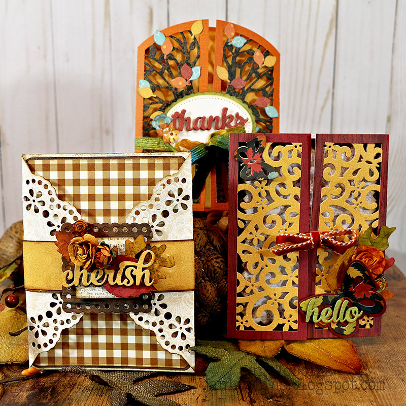 Celebrate Autumn with these Fall Cards featuring Lori Whitlock new gatefold card dies