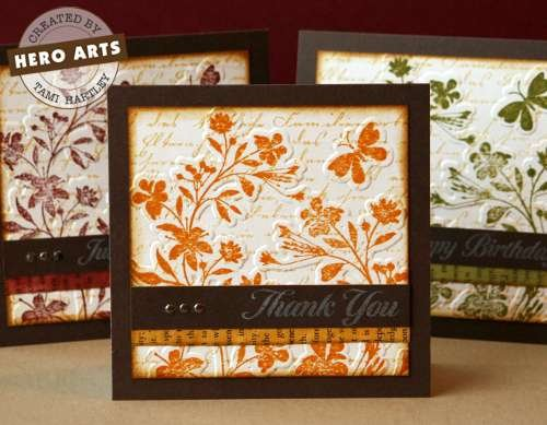 Autumn Card Set by Tami Hartley Introducing Sizzix/Hero Arts Stamp & Emboss Sets