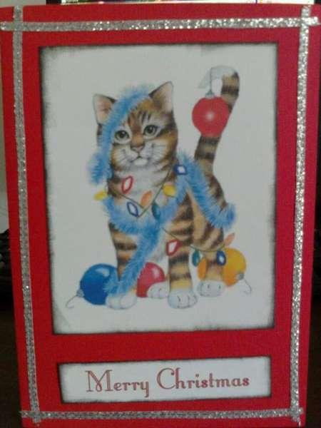 5 minute Kitty Christmas Card