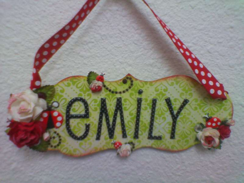 """Emily"" hanging name tag"