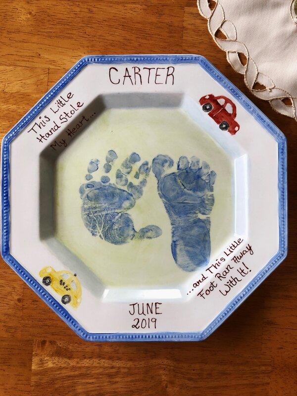 Grandson's hand & foot print!