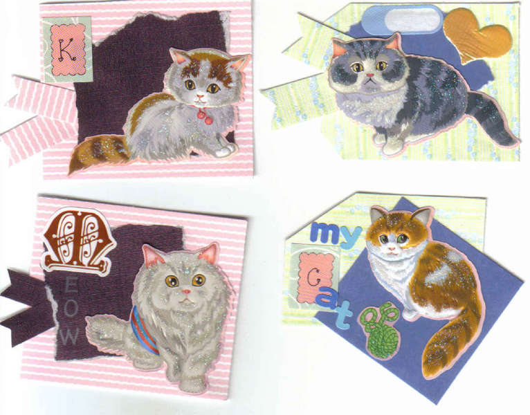 4 Handmade Scrapbook Pet Cat Tags