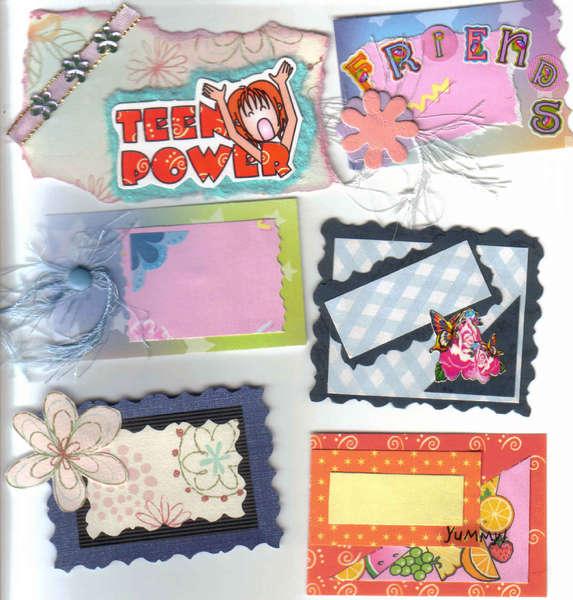 6 handmade premade scrapbook cardmaking Tags