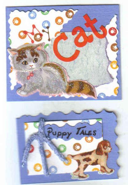 Pet Cat Dog Premade Handmade Scrapbook Tags