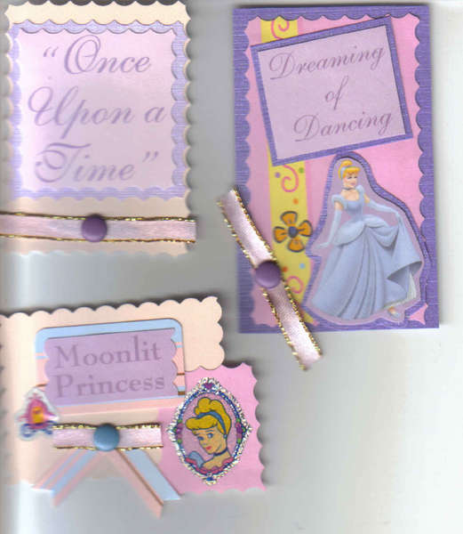 3 Princess Cinderella Scrapbooking Card Making Tags