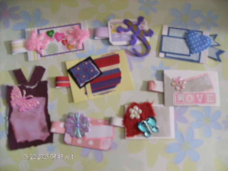 8 Handmade Tags for scrapbooking, Card making, or as gift tags