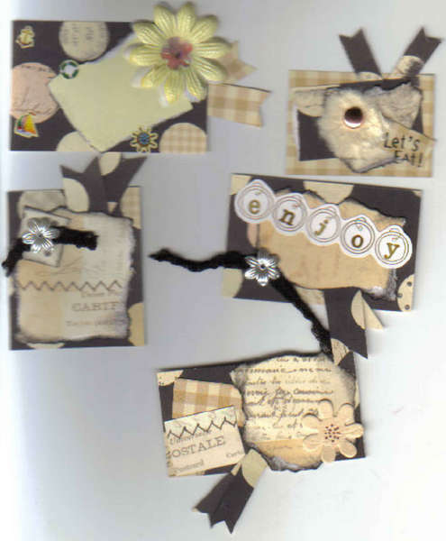 5 Handmade premade Scrapbook Card Making Tags