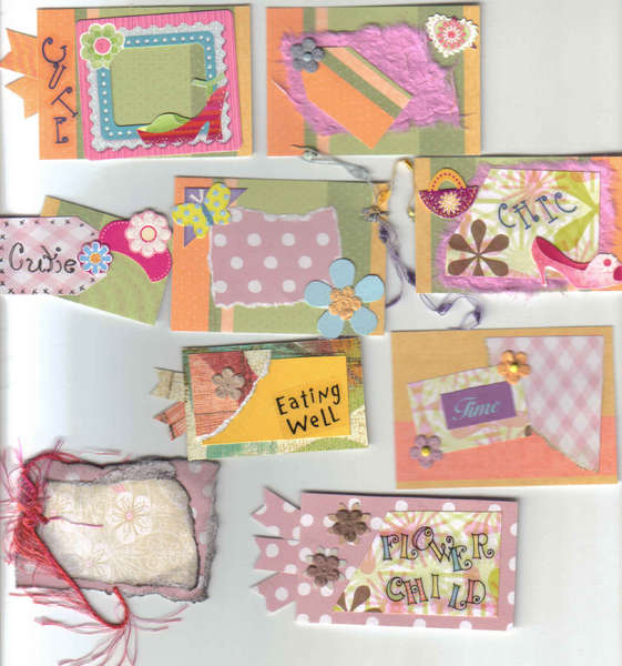 CUTE, Eating well, CHIC, FLOWER CHILD, Cutie, Time Handmade Scrapbook Tags
