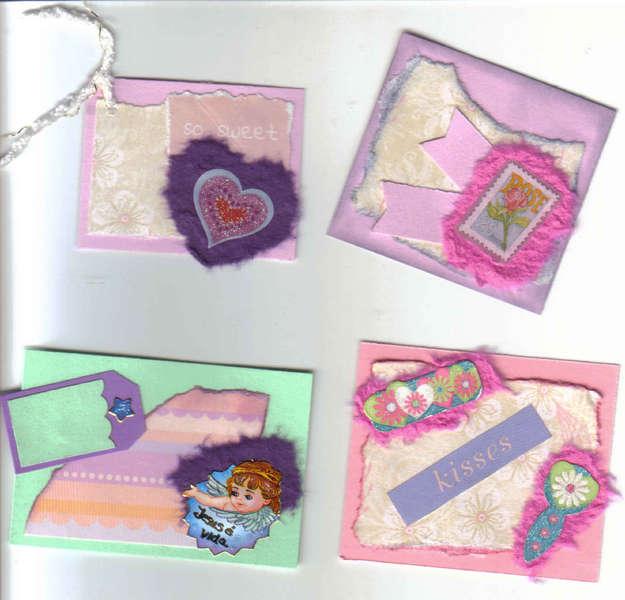 4 Unique Cute scrapbook Handmade tags