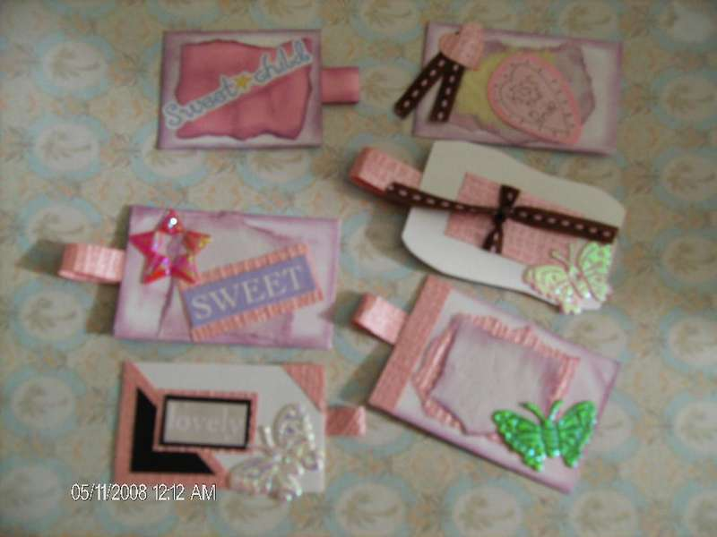 6 Handmade Tags for scrapbooking, Card making, or as gift tags