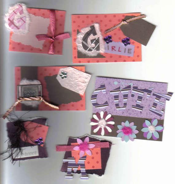 6 Handmade scrapbooking card making tags