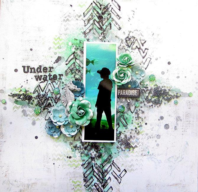 Underwater Paradise- Prima Mixed Media Layout
