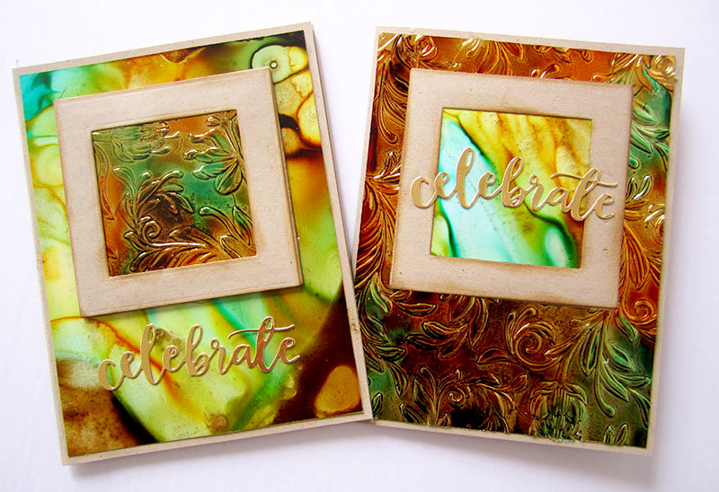 Masculine cards with Alcohol Inks