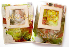 Metallic cards with Alcohol Inks