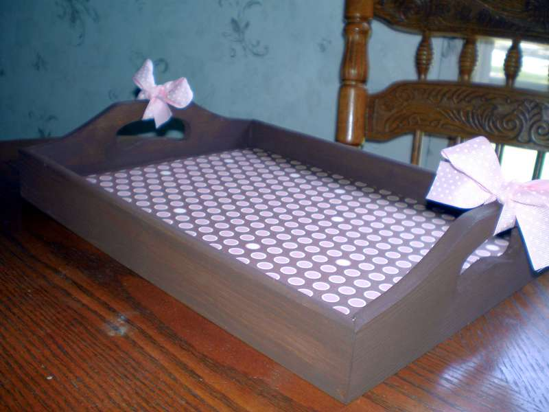 Pink & Brown Decorative Tray