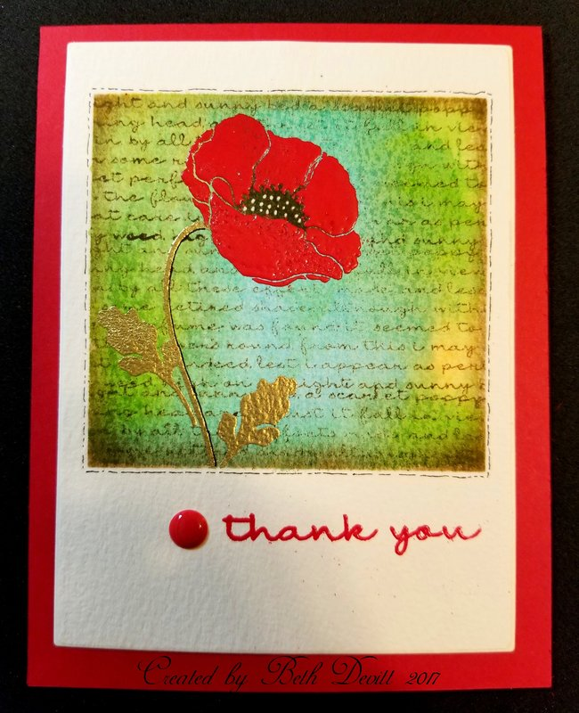 MFT Pretty Poppies Thank You Card