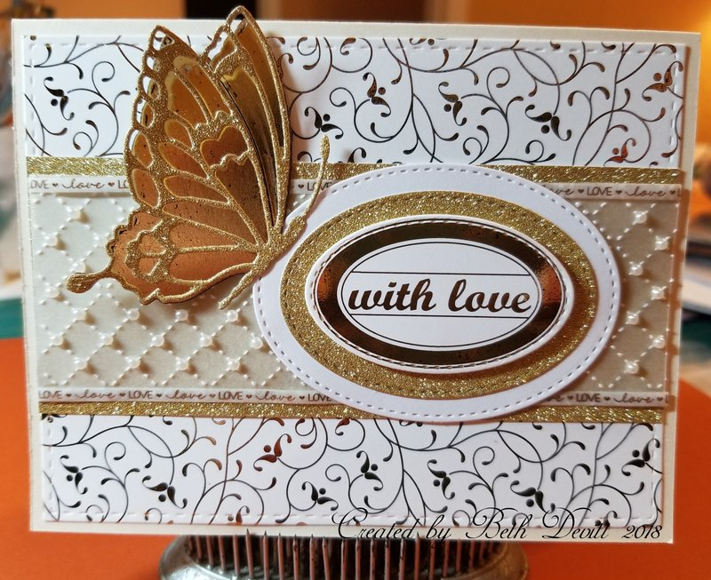 Gina K Foil-mates Gold  Butterfly Wedding Card