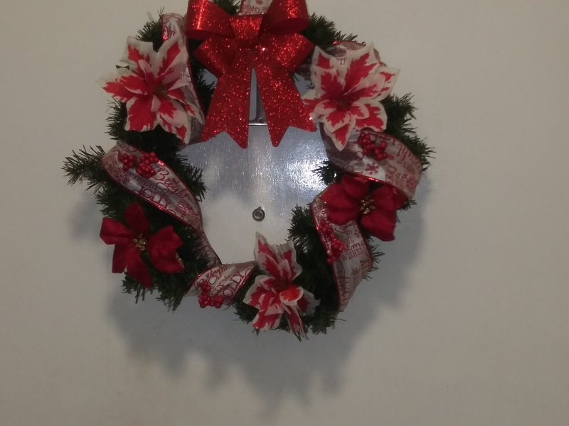 Christmas wreath i made for me to hang on my door