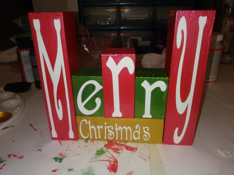 made this yesterday i cut the letters from my cricut the block was cut all ready i painted them and mod podge  them