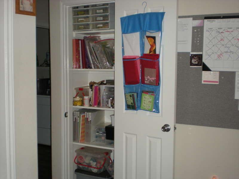scraproom closet full of scrapbooks and misc