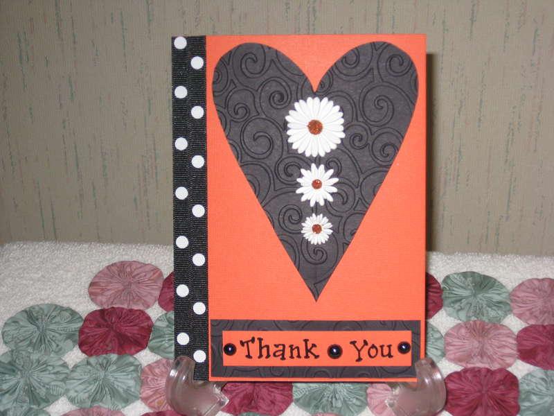 Orange & Black Thank You Card
