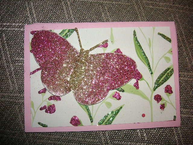 Glitter mix butterfly card