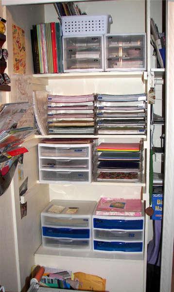 *Re-organized scraproom - half of closet