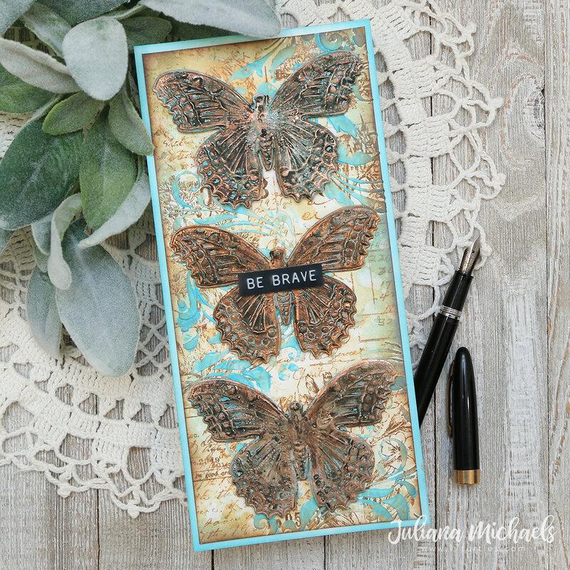Be Brave Slimline Card   Tim Holtz Sizzix 3D Butterfly Impresslit
