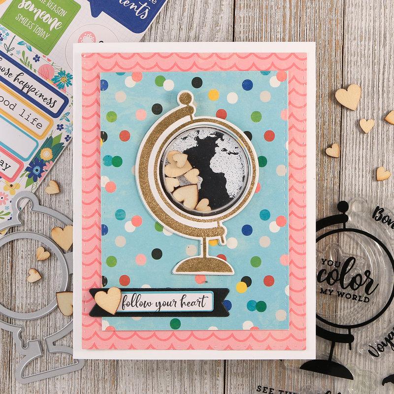 Follow Your Heart Globe Shaker Card *Jillibean Soup*