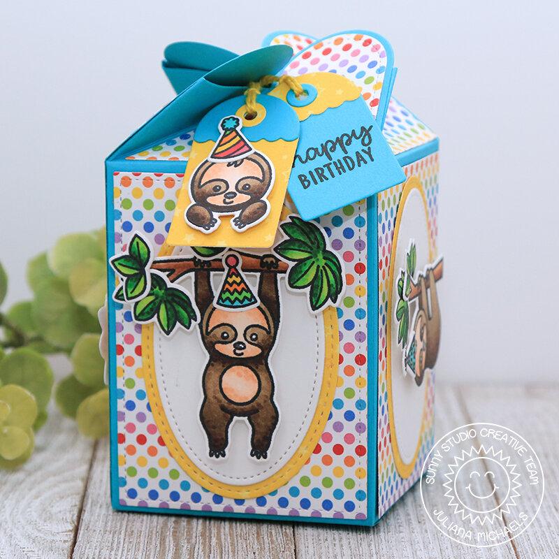 Happy Birthday Wrap Around Gift Box *Sunny Studio Stamps*