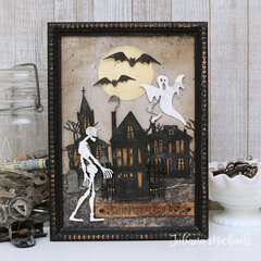Haunted House Halloween Mixed Media