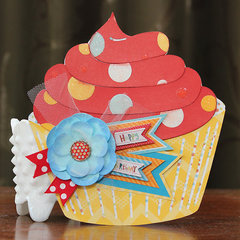 Happy Birthday Cupcake Card - Bo Bunny - Surprise!