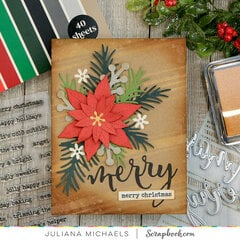 Poinsettia Merry Christmas Card
