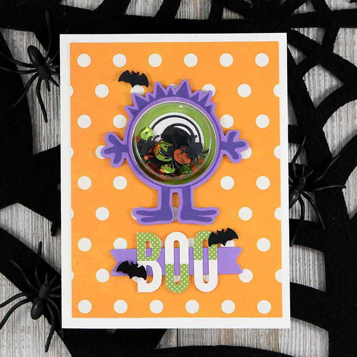 *Jillibean Soup* Monster Boo Halloween Shape Shaker Card