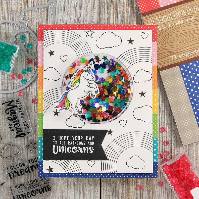 Rainbows & Unicorns Shaker Card *Jillibean Soup*