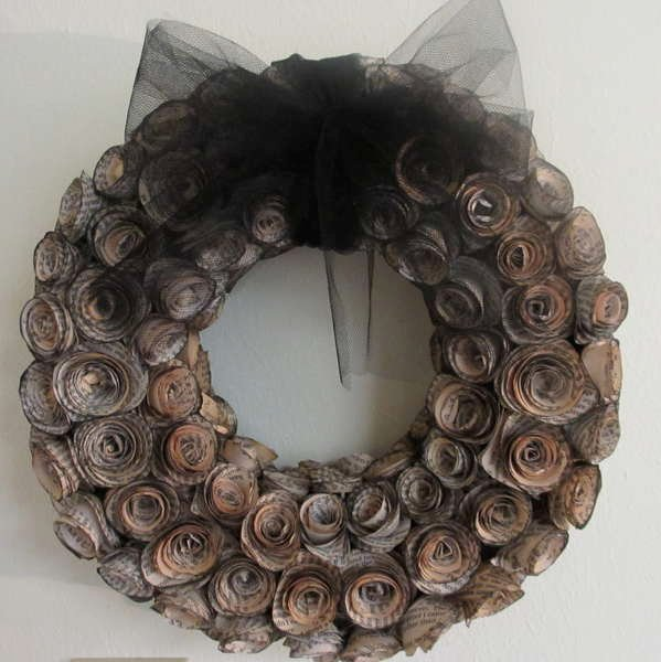 Faux curled rosewood wreath