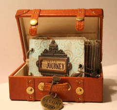Moments From The Journey-Tim Holtz book in suitcase. Project from Creative Escape event!